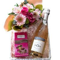 誕生日 プレゼント 花 スイーツ スパークリングワイン ギフト 生花 アレンジメント ピンク バラ フランス やや甘口 750ml お菓子 アーモンド チョコレート(OG45-JAIC43)