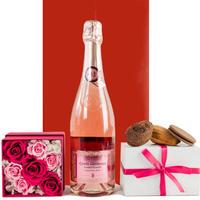 【母の日におススメ】ロゼスパークリングワイン バラのプリザーブドフラワーボックス 焼き菓子 ギフトセット
