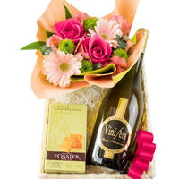 誕生日【お花とお菓子とワインギフト】フランスのオーガニック白ワイン シャンパンサブレ フラワーアレンジメント のギフトセット 生花 クッキー 記念日 人気 女性 (OG45-400210)