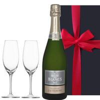【シャンパンとグラスのギフトセット】 ペアギフト フランスの高級シャンパン「ブラン・ド・ブラン」ジャック・ド・テルモン 辛口とシャンパングラス2個 (OG25-158600)