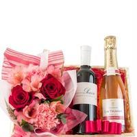 お花アレンジとワインの詰め合わせギフト バラとカーネーションのフラワーアレンジメント ロゼシャンパンと赤ワイン 2本飲み比べ