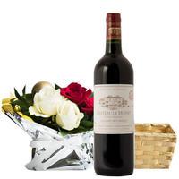 冬ギフト【 赤ワインとお花のギフト】フランス ボルドー「シャトー・デ・ミュッセ」 辛口 750ml 生花のフラワーアレンジメント 赤と白のバラ 季節限定(OG35-XM8MU1)