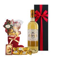 【ワインとお菓子のクリスマスギフト】 フランスの高級デザートワイン ソーテルヌ 甘口 375ml のクリスマスチョコレート サンタとボンボンの組み合わせ ギフト箱入り ギフトラッピング付き