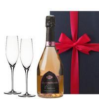 ペアギフト 2人で楽しめる フランスのロゼスパークリングワイン  ル・コードリエ 「エクスクルーシブ・ドライ・ロゼ」とペアシャンパングラスセット