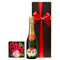 送料無料【シャンパンとお花のギフト】 フランス 「マキシム・ド・パリ・ブリュット」辛口 375ml ピンクの薔薇のプリザーブドフラワーボックス(OG35-MPC3FP)