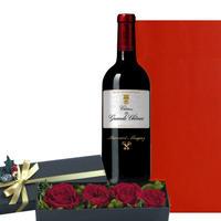 母の日 お花 フランスの赤ワインと深紅のバラのプリザーブドフラワー ギフトセット 「シャトー・レ・グラン・シェーヌ ボルドー メドック」 2011 750ml (OG35-411X18)