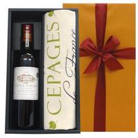 ワインとキッチンリネンのギフト ボルドー ポムロール 赤ワイン「シャトー・デュ・ミュッセ」2007年 ワインのブドウ柄のフランス製クロス(OG25-305008)