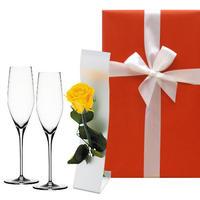 《新生活 プレゼント》【グラスとお花のギフト】ドイツのシュピゲラウ「オーセンティス」シャンパングラスと一輪挿し付きプリザーブドフラワー《選べるお花:黄色・赤》(OG00-TCGSR)