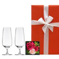 【グラスとお花のギフト】ドイツのショット・ツヴィーゼル「ビストロ ライン」シャンパングラスとプリザーブドフラワーボックス《選べるお花:黄色・ピンク・赤》(OG00-TCGZF)
