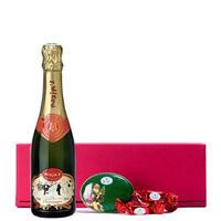 送料無料【シャンパンとスイーツのクリスマスギフト】マキシム・ド・パリのシャンパーニュ・ブリュット375ml ハイデルチョコレートミニラウンド缶