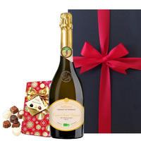 送料無料【スパークリングワインとチョコのギフト】ジャイアンス「キュヴェ・サン・ヴァンサン・ブリュット」 750ml フルボトル ベルギーチョコ 20個
