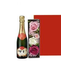 マキシム・ド・パリのハーフボトルシャンパンとおしゃれなプリザーブドフラワーボックスのギフト ラッピング付 熨斗可能