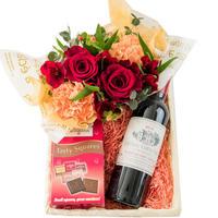 お酒 おつまみ フラワーギフト ボルドー 赤ワイン 375ml ナポリタンチョコレート スイーツ チョコ 生花アレンジメント