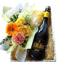 ビール お花 ギフト  北フランス  クラフトビール  ジャンラン ブロンド 750ml  生花 フラワーアレンジメント  バスケット入り(OG35-JLB752)