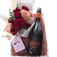 生花とスイーツ・ビールのギフト フランス クラフトビール 琥珀 「ジャンラン・アンバー」750ml フラワーアレンジメント バラとカーネーション フォシエのチョコビスケット 結婚祝い 誕生日プレゼント