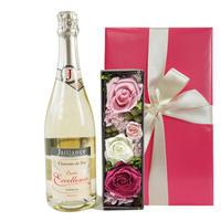 ワインとお花のギフト スパークリング フランス コート・デュ・ローヌ やや甘口 750ml プリザーブドフラワー アレンジボックス 包装つき 箱入り
