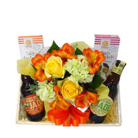 【ビールとお花・お菓子のギフトセット】オーガニックビール 「JADE(ジャド)」海外ビール飲み比べセット フラワーとスイーツの贈り物 生花のアレンジメント付き(OG96-131880)