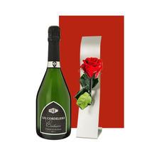 送料無料 ワインとお花ギフト シャンパン製法のスパークリングとプリザーブドフラワー フランス クレマン・ド・ボルドー 赤いバラ 一輪挿し付き ギフト箱入り