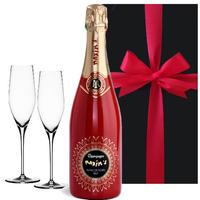 【シャンパンとグラスのギフト】フランス マキシム・ド・パリ シャンパーニュ 「レッド キュヴェ ブラン ドゥ ノワール」ドイツ製「シュピゲラウ 」グラス