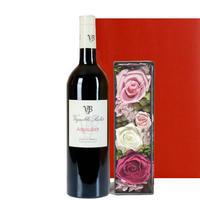 女性に喜ばれる贈り物 バラのプリザーブドフラワーボックスと南フランスの赤ワイン