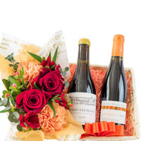 ワイン お花 赤白ワイン フランス  375ml ハーフボトル 2本 辛口  生花 フラワーアレンジメント 赤 オレンジ バラ カーネーション プレゼント お祝い お礼 お返し