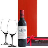 ワインとスイーツ、グラスのギフト ボルドー赤ワイン 375ml 東京のチョコレート専門店のケーキ ドイツ製ワイングラス2個 ギフト箱入り