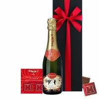 母の日プレゼント 送料無料 シャンパン チョコレート ギフト フランス 有名ブランド 「マキシム・ド・パリ」 辛口 ハーフボトル 375ml ミルクチョコレート 8枚(OG15-613653)
