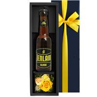 《父の日ギフト》【クラフトビールとお花のギフト】フランス「ジャンラン・ブロンド」 330mlと黄色のミニボックス プリザーブドフラワー 誕生日 内祝い お礼