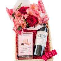 《結婚祝い》誕生日 フラワーギフト  お花 ワイン スイーツ 詰め合わせ  バラ カーネーション フラワーアレンジ  ボルドー 赤ワイン ハーフボトル お菓子 (OG45-208043)