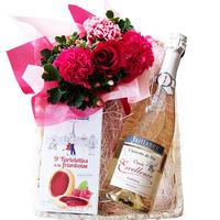 ワインとお花、お菓子のギフト フランス  やや甘口 スパークリング 750ml  生花 フラワーアレンジメント ラズベリータルト クッキー バスケット入り