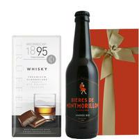 送料無料 ビールとスイーツのギフト チョコレート プレゼント フランス  オーガニック ビール 330ml ドイツ ウィスキー風味 ミルクチョコレート(OG16-018409J)