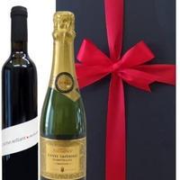 【ワインとスパークリングギフトセット】フランスのハーフサイズのスパークリングワイン(375ml)と芳醇な果実味のオーガニック赤ワイン(500ml)(OG99-820209)