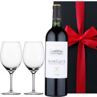 《お中元・夏ギフト》【ワインとグラスのセット】フランス ボルドー オー・メドックの赤ワイン「マルゴー・ド・マレレ」2016年とドイツ製ペアワイングラス 結婚祝い(OG25-567289)