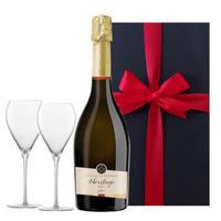 【お二人で楽しめるワインとグラスのギフト】フランスのスパークリングワイン ジャイアンス「クレマン・ド・ボルドー エリタージュブリュット」とペアシャンパングラスのセット(OG95-377292)