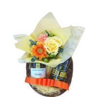 《マザーズデイ 2021》お花 ギフト フランス クラフトビール 330ml 輸入ビール 生花 フラワーアレンジメント 黄色 バラ カニのリエット(OG35-4005YS)