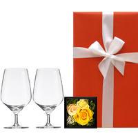 【グラスとお花のギフト】ドイツのショット・ツヴィーゼル「ビストロ ライン」白ワイングラスとプリザーブドフラワーボックス《選べるお花:黄色・ピンク・赤》(OG00-TWGZF)