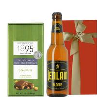 ギフト 送料無料 飲みきりサイズのフランスのクラフトビール330ml と、ヘーゼルナッツが香ばしいドイツのミルクチョコ 内祝い (OG16-013411)