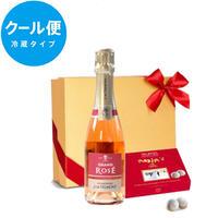 《クール便送料無料》【シャンパンとスイーツのギフト】フランス「グラン・ロゼ・ブリュット」辛口 375mlと「マキシム・ド・パリ」シャンパン トリュフチョコレート6個入り