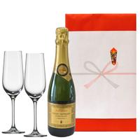 """結婚祝い シャンパングラスとスパークリングギフト 南フランス、コート デュ ローヌのスパークリングワイン """"キュヴェ・トラディション""""ハーフボトルとペアグラスのセット"""