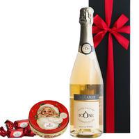 《ワインギフト おすすめ》クリスマス【ワインとスイーツのギフト】フランスのスパークリングワインとサンタフェイス缶入りヘーゼルナッツチョコレートのギフトセット(OG15-722293)