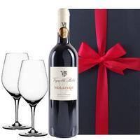 ペアグラス付き ワインギフト フランス 赤ワイン 辛口 南フランス ラングドック・ルーション レ・ムーレール 750ml ドイツ製 ワイングラス ギフト箱入り ラッピング付(OG25-108944)