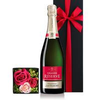 誕生日【シャンパンとお花のギフトセット 】フランス「グラン・レゼルブ・ブリュット」辛口 750ml プリザーブドフラワー 結婚祝い 結婚記念日 贈り物 詰め合わせ のし可(OG36-JTBPRM)