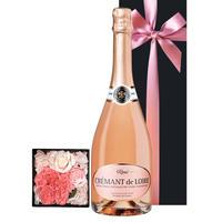 《結婚祝い》【ワインとお花のギフト】フランスのスパークリングワイン「クレマン・ド・ロワール・ロゼ」750mlと薔薇とカーネーションのプリザーブドフラワーBOX(OG36-JCLRPM)
