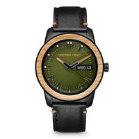 The Barrel 2.0 42mm - Oak Black Leather