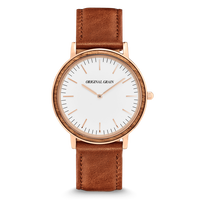 The Minimalist 40mm - Zebrawood/RoseGold/Cognac Brown Leather Band