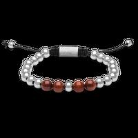 Macrame Bracelet 8mm - Rosewood/Chrome