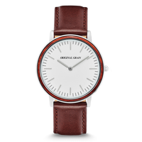 The Minimalist - Rosewood/Chrome/Brown Leather Band