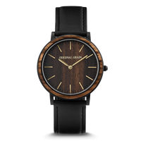 The Minimalist 40mm - Ebony/Gold/Wood Dial