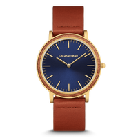 The Minimalist - Cognac/Wood Dial (Mahogany)