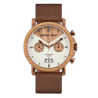 The Alterra Chronograph 44mm - WHISKEY LEATHER (Whiskey/Espresso/Dist. Brown Leather Band)
